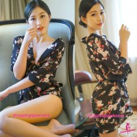 Black with Flowers  Japanese Robes G-String Sleepwear Sexy Lingerie Pajamas H6205