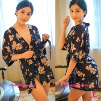 Dark Blue with Flowers Japanese Robes G-String Sleepwear Sexy Lingerie Pajamas H6207