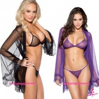 See-Through Bikini Bra + G-String + Robes Outfits Sleepwear Sexy Lingerie (2 Colors) M6641