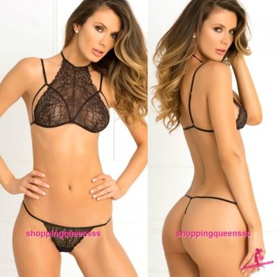 Sexy Lingerie Black Lace Bikini Set Bra + G-String Women Sleepwear Nightwear M6664