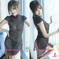 Black See-Through Cheongsam Dress + G-String Costume Sleepwear Sexy Lingerie H6190