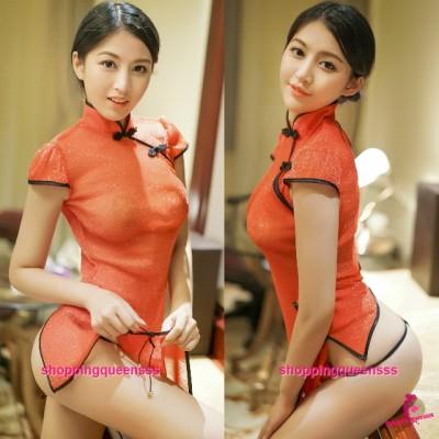 Red See-Through Cheongsam Dress + G-String Costume Sleepwear Sexy Lingerie H6190