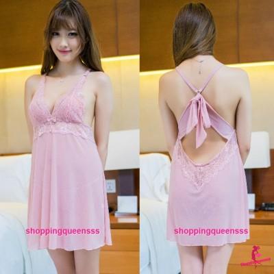Flesh Pink Lace Sling Low-Cut Babydoll Dress + G-String Sleepwear Sexy Lingerie Pajamas TSX01