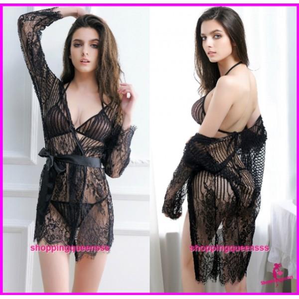 Black Bikini Bra + G-String + Robes Set Sleepwear Sexy Lingerie M803