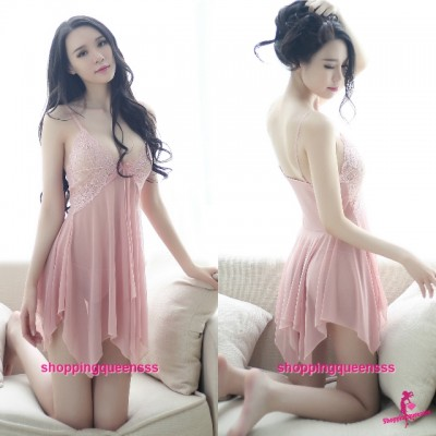 Flesh Pink Sling Low-Cut Babydoll Dress + G-String Sexy Lingerie Sleepwear TS8046