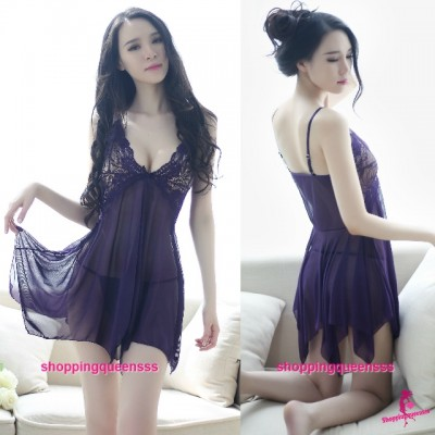 Purple Sling Low-Cut Babydoll Dress + G-String Sexy Lingerie Sleepwear TS8046