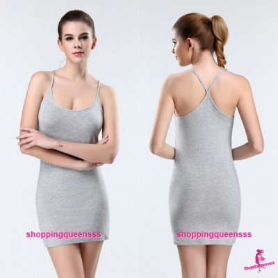 Sexy Lingerie Grey Women Modal Y-Cross Soft Bottoming Dress Vest Sleepwear Nightwear Y9070