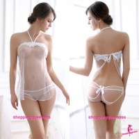 White Halter Tie Back Babydoll Dress + Panties Sleepwear Sexy Lingerie L3910