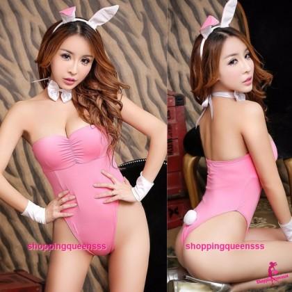 Pink Rabbit Teddies Set Cosplay Costume Sleepwear Sexy Lingerie H6160