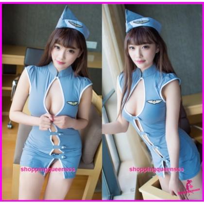 Blue Flight Attendant Uniform Dress Cosplay Costume Sleepwear Sexy Lingerie TS6668