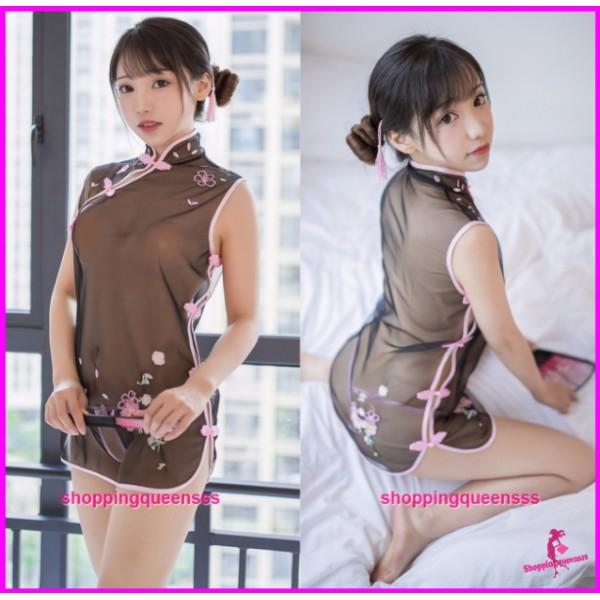 Black + Pink Cheongsam Dress + G-String Costume Sleepwear Sexy Lingerie H7933