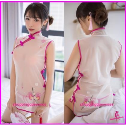 White + Rose Red Cheongsam Dress + G-String Costume Sleepwear Sexy Lingerie H7933