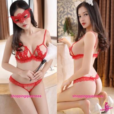 Red Lace Butterfly Bikini Set Sexy Lingerie Sleepwear Nightwear M2295