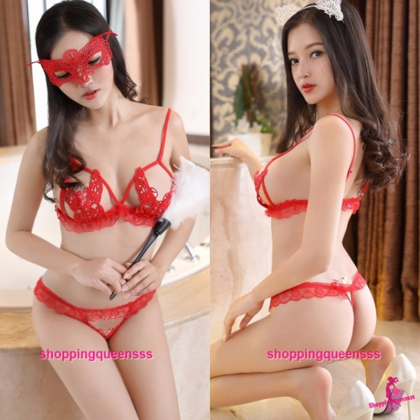 Red Lace Butterfly Bikini Set Sexy Lingerie Sleepwear Nightwear M2295