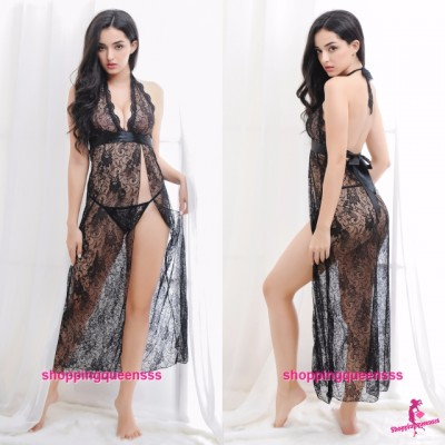 Black Lace Side Slit See-Through Babydoll Long Dress Sleepwear Sexy Lingerie M605