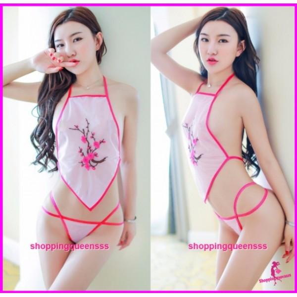 Pink See-Through Belly Band + G-String Bikini Costume Sexy Lingerie Sleepwear H6229