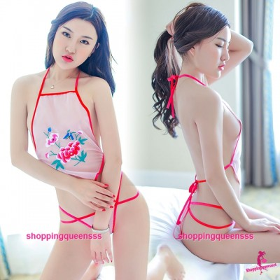 Pink See-Through Belly Band + G-String Bikini Costume Sexy Lingerie Sleepwear H6230