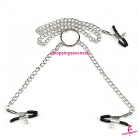 Adjustable Nipple Clamp Chain Clips SM Bondage Couple Adult Games SAN-1