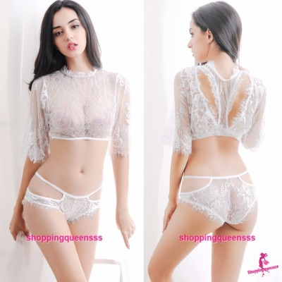 White Lace See-Through Top + Panties Bikini Set Sexy Lingerie Sleepwear M497