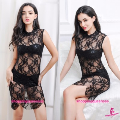 Black Lace Dress + Bikini Bra Panties Sleepwear Sexy Lingerie M613