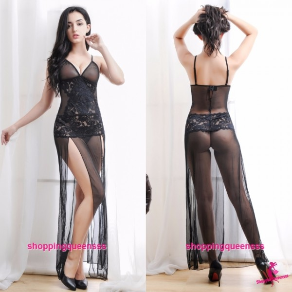 Black Low-Cut Sides Slit Babydoll Long Dress + G-String Sleepwear Sexy Lingerie M610