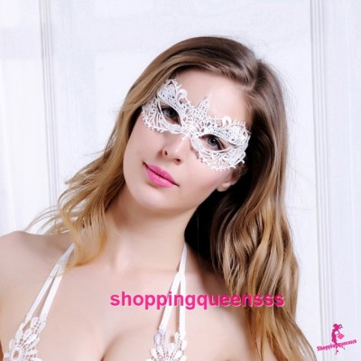 White Eye Mask Cosplay Costume Partywear Sexy Lingerie Accessories LE002