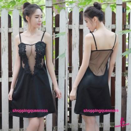 Black See-Through Babydoll Dress + G-String Sleepwear Sexy Lingerie TS1088