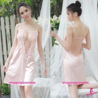 Pink See-Through Babydoll Dress + G-String Sleepwear Sexy Lingerie TS1088