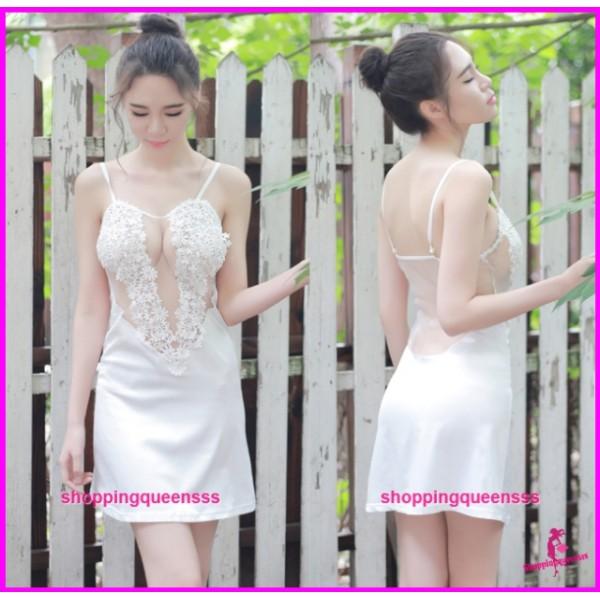 White See-Through Babydoll Dress + G-String Sleepwear Sexy Lingerie TS1088