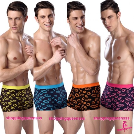 Bamboo Fiber Men's Underwear Kiss Pattern Boxers Briefs Sexy Lingerie (4 Colors) L3822
