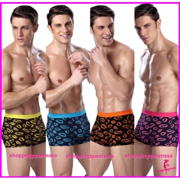 Bamboo Fiber Men's Underwear Kiss Pattern Boxers Briefs Sexy Lingerie (4 Colors) L3822