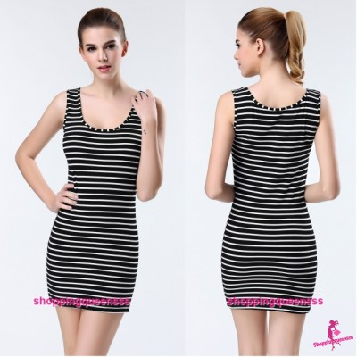 Sexy Lingerie Black Stripes Bottoming Dress Shirt Women Sleepwear Nightwear Y9080