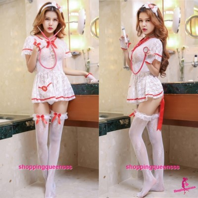 Sexy Fishnet Body Stocking Dress Nurse Uniform Hosiery Costume Sleepwear Lingerie WL6049