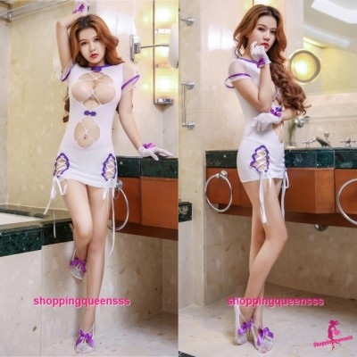 Purple Edge Sexy Body Stocking Dress Open Breast Hosiery Costume Sleepwear Lingerie WL6052
