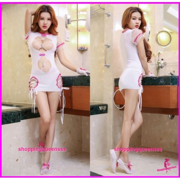 Rose Red Edge Sexy Body Stocking Dress Open Breast Hosiery Costume Sleepwear Lingerie WL6052