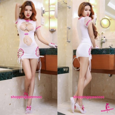 Rose Red Edge Sexy Body Stocking Dress Open Breast Hosiery Costume Sleepwear Lingerie WL6052