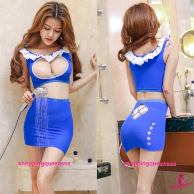 Blue Sexy Body Stocking Dress Open Breast Top Hosiery Costume Sleepwear Lingerie WL6053