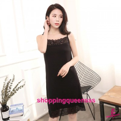 Sexy Lingerie Black Modal Lace Soft Loose Sleeping Dress Sleepwear Nightwear QMA01