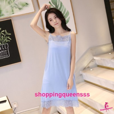 Sexy Lingerie Blue Modal Lace Soft Loose Sleeping Dress Sleepwear Nightwear QMA01