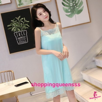 Sexy Lingerie Green Modal Lace Soft Loose Sleeping Dress Sleepwear Nightwear QMA01