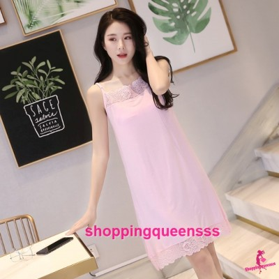 Sexy Lingerie Pink Modal Lace Soft Loose Sleeping Dress Sleepwear Nightwear QMA01