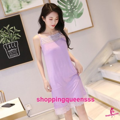 Sexy Lingerie Purple Modal Lace Soft Loose Sleeping Dress Sleepwear Nightwear QMA01