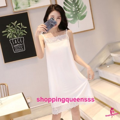 Sexy Lingerie White Modal Lace Soft Loose Sleeping Dress Sleepwear Nightwear QMA01
