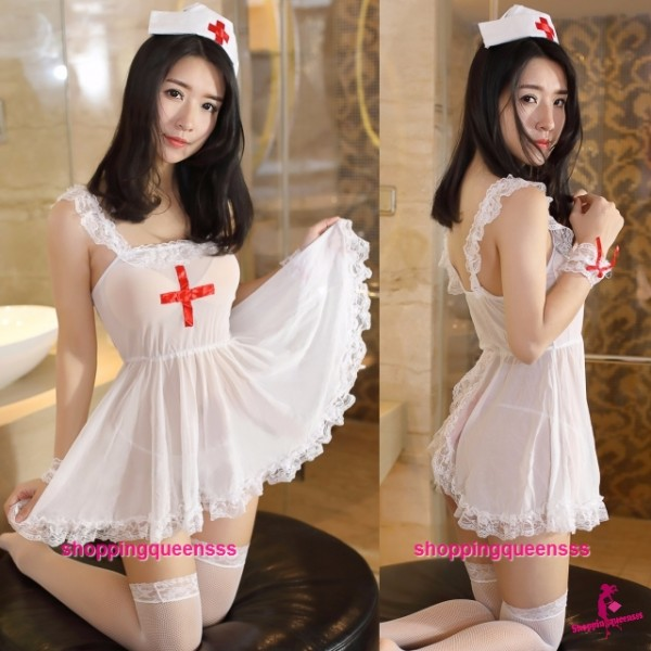 Sexy Lingerie White Nurse Uniform Open Butt Dress Costume Sleepwear M4499