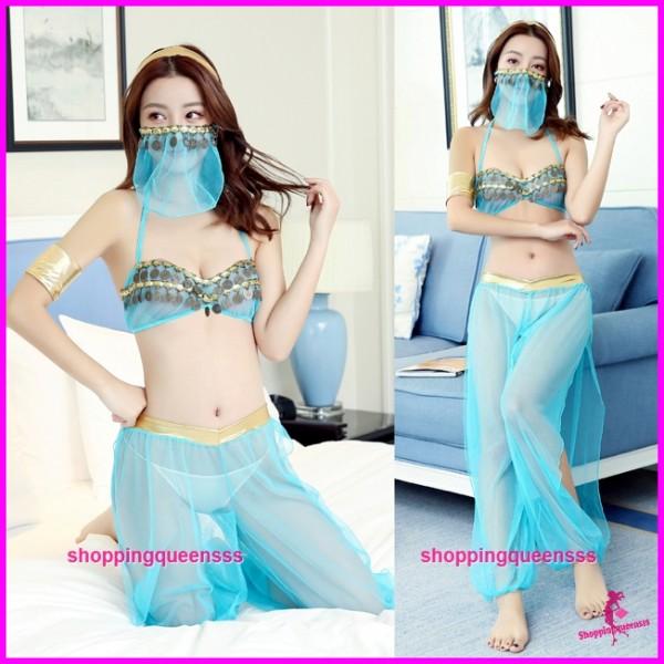 Blue Bra + Pants + Mask Costume Sleepwear Sexy Lingerie Nightwear TS7282