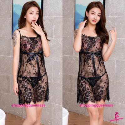 Black Lace Babydoll Dress + G-String Sexy Lingerie Sleepwear Pyjamas TS7290