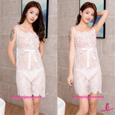 White Lace Babydoll Dress + G-String Sexy Lingerie Sleepwear Nightwear TS7290