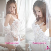 White Lace Dress + G-String + Leg Bands Bride Costume Sexy Lingerie Sleepwear TS1056