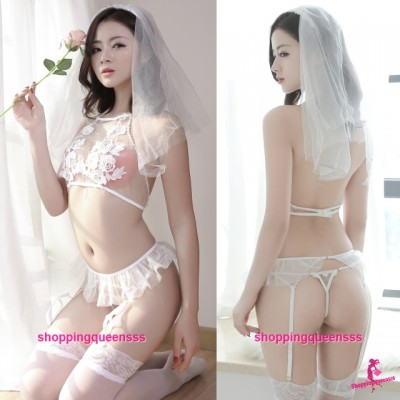White Lace Top + G-String + Garter Belts Bride Costume Sexy Lingerie Sleepwear TS1093