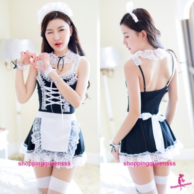 Black Fancy Maid Uniform Dress Cosplay Costume Nightwear Sleepwear Sexy Lingerie H6231